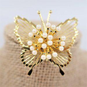VTG Monet Gold Tone Faux Pearl Butterfly Brooch